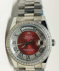Replica horloge Rolex Day-Date 23 (36mm) Diamonds (Witgoud) Rode wijzerplaat automatic