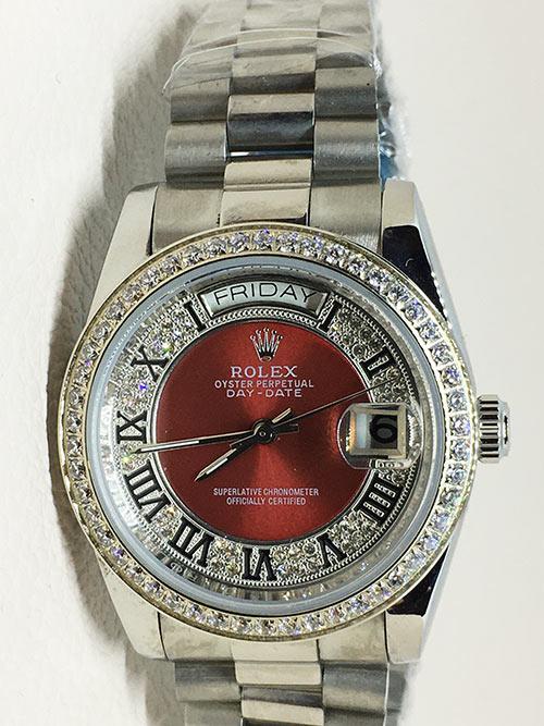 Replica horloge Rolex Day-Date 23 (36mm) Diamonds (Witgoud) Rode wijzerplaat automatic