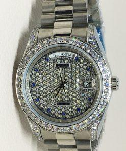 Replica horloge Rolex Day-Date 24 (36mm) Full Diamonds (Witgoud)