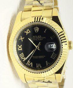 Replica horloge Rolex Datejust 17 (40mm) Zwarte wijzerplaat (Goud) President band Automatic/ Romeinse cijfers