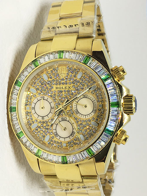 Replica horloge Rolex Daytona 13 cosmograph (40mm) Rainbow (Gold)