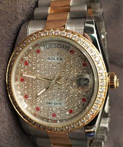 Replica horloge Rolex Day-Date 22 (36mm) Diamonds (Bi-color) President