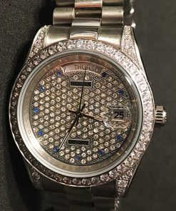 Replica horloge Rolex Day-Date 24 (36mm) Full Diamonds (Witgoud)