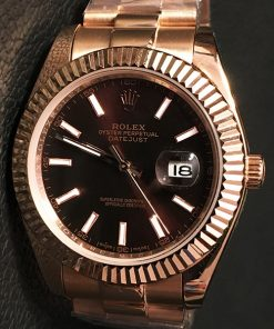 Replica horloge Rolex Datejust 18 (41 mm) Zwarte wijzerplaat (Goud) President band Automatic