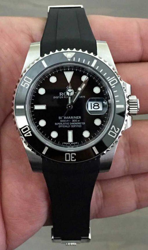Replica horloge Rolex Submariner 09 (40mm) 116610LN Date (Oysterflex) Zwart- Black (Top kwaliteit!