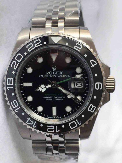 Replica horloge Rolex Gmt-master ll 12 (40mm) Staal (Zwart) 126710LN Black-Zwarte wijzerplaat-Automatic