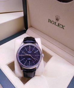 Replica horloge Rolex Cellini 03 (40mm) Zwarte Wijzerplaat (Leren band) Automaat