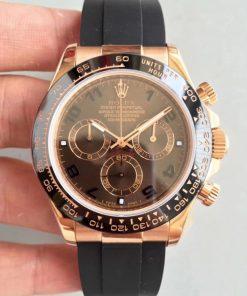 Replica horloge Rolex Daytona 19 cosmograph (40mm) 116515LN Rose Gold/bruine wijzerplaat