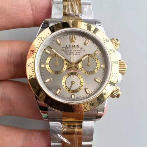 Replica horloge Rolex Daytona 20 cosmograph (40mm) 116503 (Bi-color) Grijze wijzerplaat