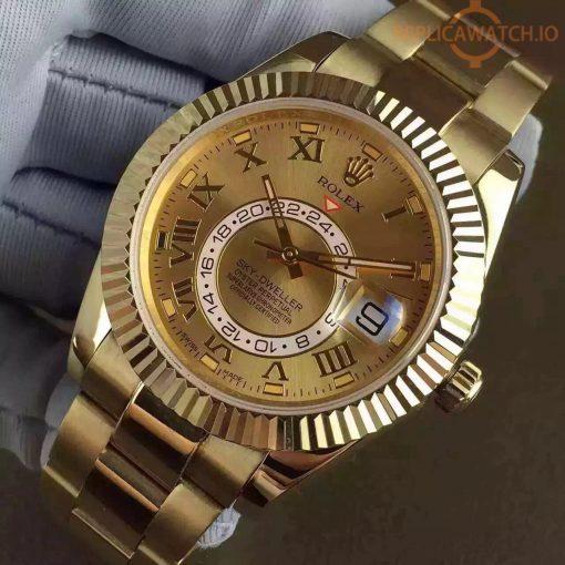 Replica horloge Rolex Sky dweller 07 (42mm) 326933 Gold (Grijze wijzerplaat) Top kwaliteit!