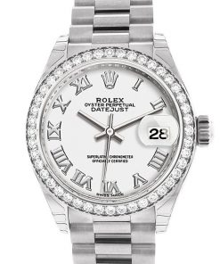 Replica horloge Rolex Datejust Dames 07 (28 mm) (President band) (Witgoud) Romeinse cijfers