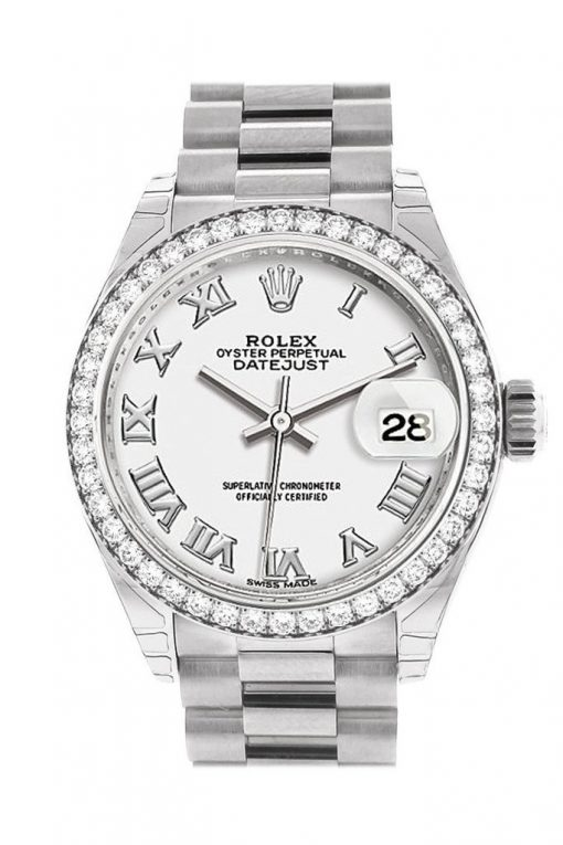 Replica horloge Rolex Datejust Dames 07 (28 mm) (President band) (Witgoud) Romeinse cijfers