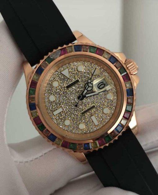 Replica horloge Rolex Submariner 10 (40mm) Full Diamonds Date (Rubber)rainbow