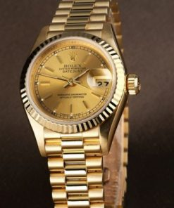 Replica horloge Rolex Datejust Dames 05 (28mm) Goude wijzerplaat(President band) (Gold)