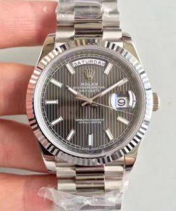 Replica horloge Rolex Day-Date 08/3 (40mm) 228239 antraciet grijze wijzerplaat (President band) Automatic