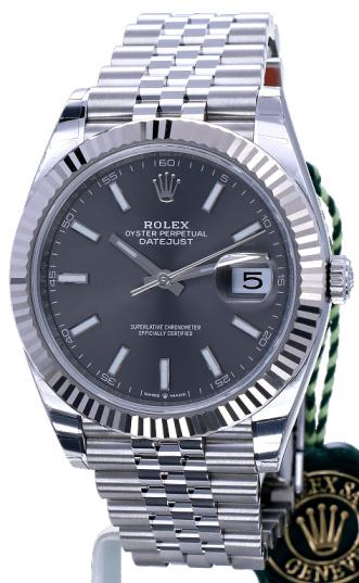 Replica horloge Rolex Datejust 20/2 (41 mm) 126334 Oysterband (Grijze wijzerplaat) Rhodium Automatic