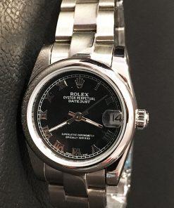 Replica horloge Rolex Datejust Dames 07 (28 mm) (Oyster band) Romeinse cijfers (zwarte wijzerplaat)