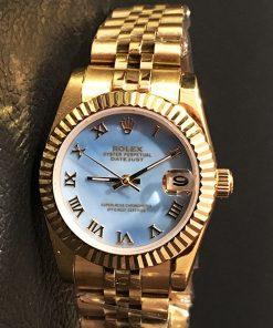 Replica horloge Rolex Datejust Dames 10 (28 mm) (Jubilee band) Romeinse cijfers ( Blauwe wijzerplaat)