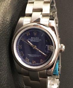 Replica horloge Rolex Datejust Dames 09 (28 mm) (Oyster band) Romeinse cijfers ( Blauwe wijzerplaat)