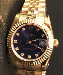 Replica horloge Rolex Datejust Dames 14 (28 mm) (Jubilee band) (Blauwe wijzerplaat) Automatic (Gold)