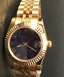 Replica horloge Rolex Datejust Dames 16 (28 mm) (Jubilee band) (Blauwe wijzerplaat) Automatic (Gold)