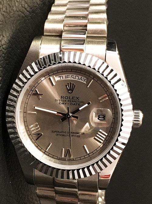 Replica horloge Rolex Day-Date 20 (40mm) 228238 President band (Grijze wijzerplaat)