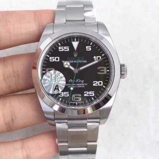 Replica horloge Rolex Air King 01/1 (40mm) 116900 Oystersteel-band, zwarte wijzerplaat-Automatic-Top kwaliteit!