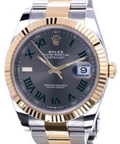 Replica horloge Rolex Datejust ll 17 (41 mm) 126333 Bi-color Grijze wijzerplaat Wimbledon Jubilee band Automatic/ Romeinse cijfers/Roman