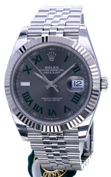 Replica horloge Rolex Datejust ll 17 (41 mm) 126333 Grijze wijzerplaat Wimbledon Jubilee band Automatic/ Romeinse cijfers/Roman