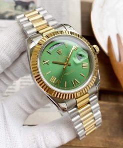 Replica horloge Rolex Day-Date 08/1 (40mm) 228235 Olijfgroene wijzerplaat (President band) Automatic Bi-color