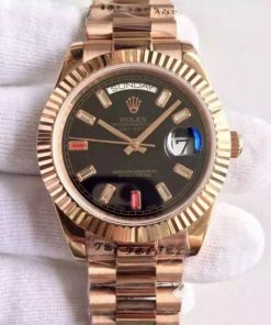 Replica horloge Rolex Day-Date 17 (41mm) 218235 Rose gold president band Automatic/ zwarte wijzerplaat