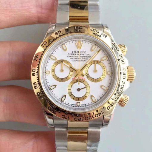 Replica horloge Rolex Daytona 08 cosmograph (40mm) 116503 Bi-color Witte wijzerplaat (Goud) 18K-Automatic-Top kwaliteit!