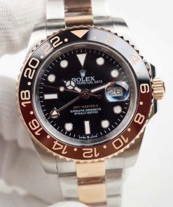 Replica horloge Rolex Gmt-Master ll 09/2 (40mm) 126715CHNR Bi-color Rose Gold Root beer -Automatic-Top kwaliteit!