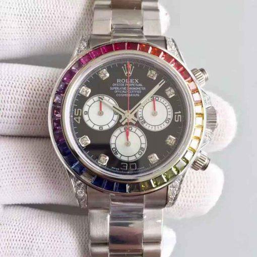 Replica horloge Rolex Daytona 05/1 cosmograph (40mm) 116595 RBOW (Diamanten) Automatic-White Gold-Top kwaliteit!