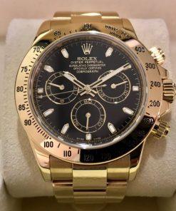 Replica horloge Rolex Daytona 25 cosmograph (40mm) 116528 -Yellow Gold -Zwarte wijzerplaat-Automatic-Top kwaliteit!