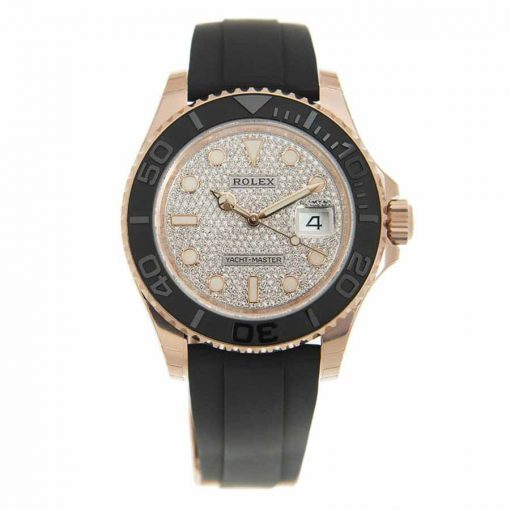 Replica horloge Rolex Yacht master 01/1 (40mm) Diamond Pave Dial Everose gold-Oysterfex-Automatic-Top kwaliteit!