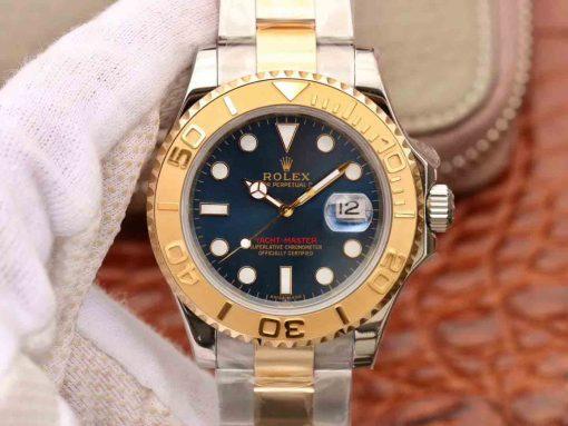 Replica horloge Rolex Yacht master 10 (40mm) 116623 Blauwe wijzerplaat Oystersteel-staal-Yellow gold Bi-Color-Automatic-Top kwaliteit!