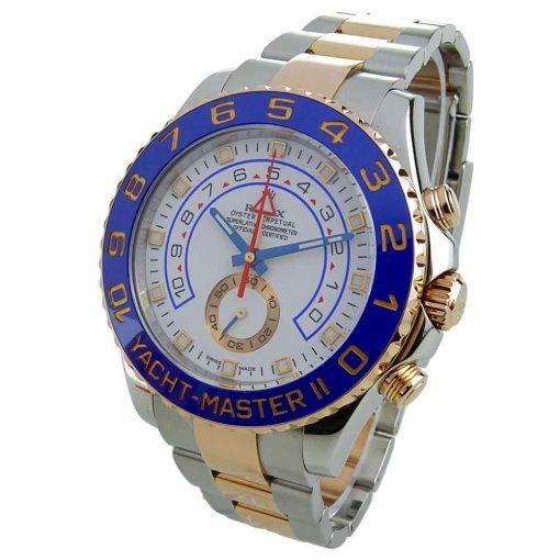 Replica horloge Rolex Yacht master ll 08 (44mm) 116681 bidirectioneel draaibare bezel 18K Everose Gold-Oyster-band-Automatic-Top kwaliteit!