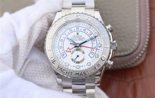 Replica horloge Rolex Yacht master ll 08 (44mm) 116689 bidirectioneel draaibare bezel 18K Witgoud-Platina-Oyster-band-Automatic-Top kwaliteit!